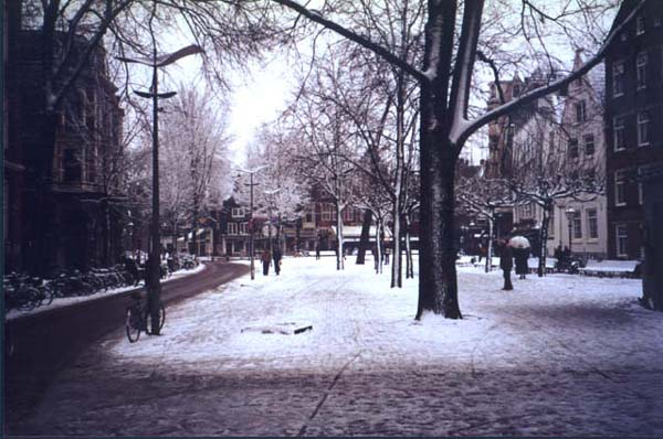 Spui, Amsterdam after a bit of snow.